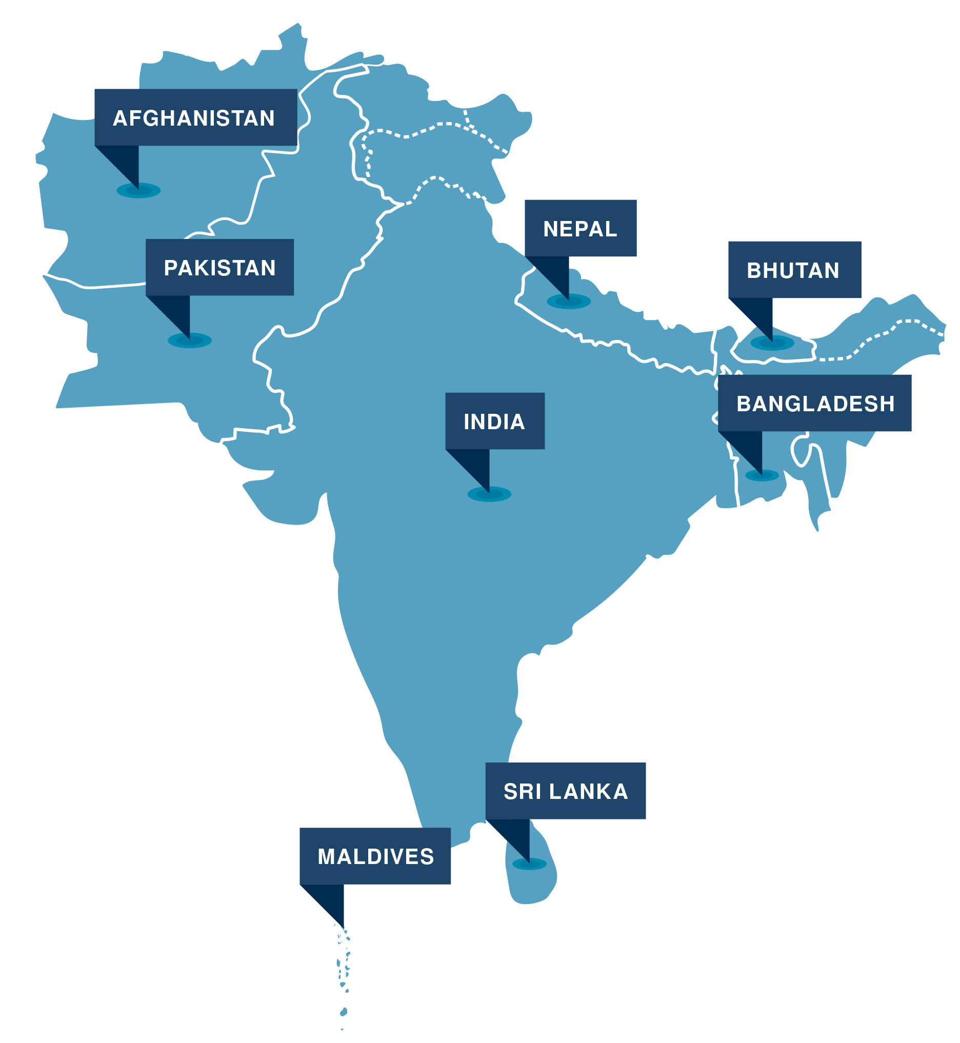 Map of South Asia. Vector.