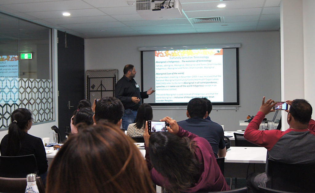 Haydyn Bromley, Bookabee Australia, facilitating Aboriginal cultural awareness training for Australia Awards scholars in Adelaide