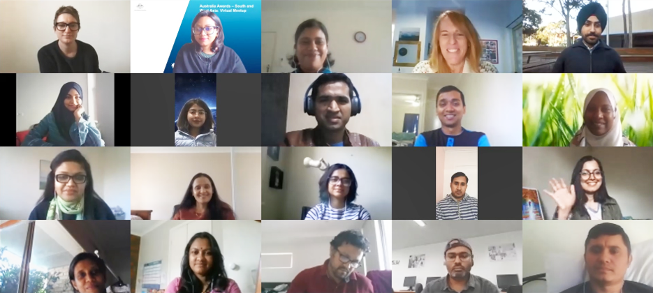 Australia Awards scholars from South and West Asia attended a virtual meeting on Zoom to socially connect and check in with one another during COVID-19 physical isolation