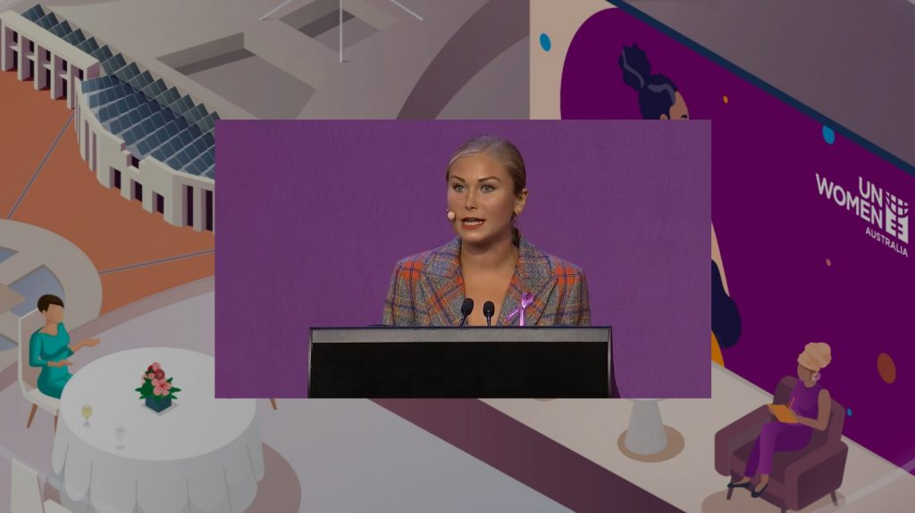 Grace Tame, the 2021 Australian of the Year, spoke live from the Sydney event to all the attendees joining the livestream
